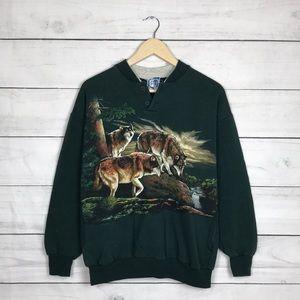 Vintage 1990s Wolves Art Sweatshirt